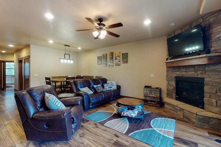 New listing! Riverfront getaway w/mountain views & private hot tub