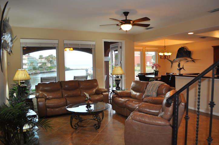 Water front home with view of South Padre Island