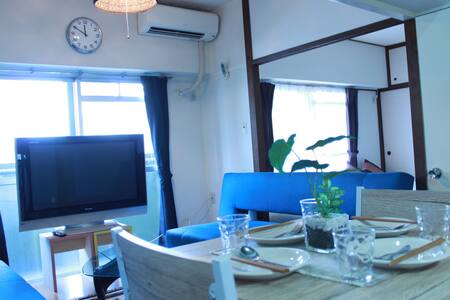 Cozy Room★Beside Tenjin★1min to Subway Sta★8Pax!! - Appartement