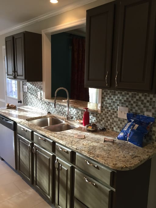 Full new kitchen with granite counter tops.  Fridge and Freezer.  New appliances. BYOB and BYOFood!