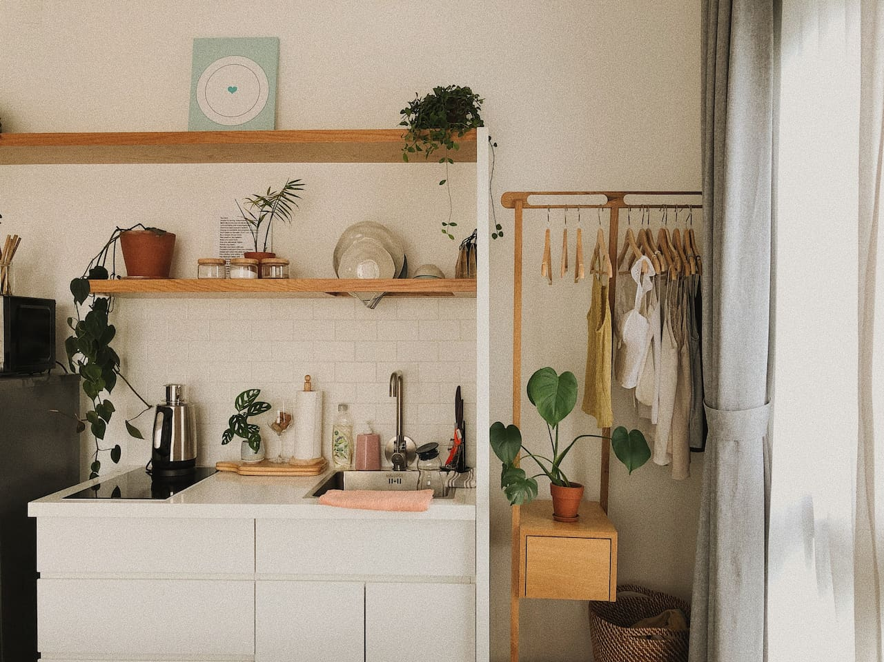 Don't worry, our kitchen is stocked with utensils, plants, and plenty of light.