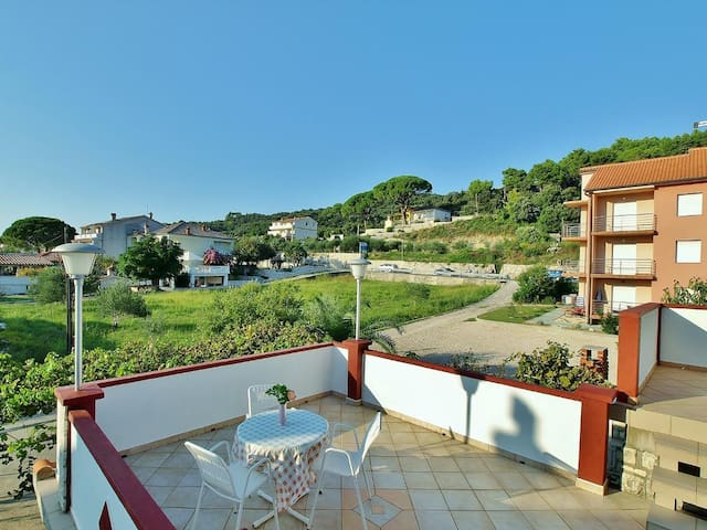 One bedroom apartment with terrace and sea view Kampor (Rab) (A-5000-b)