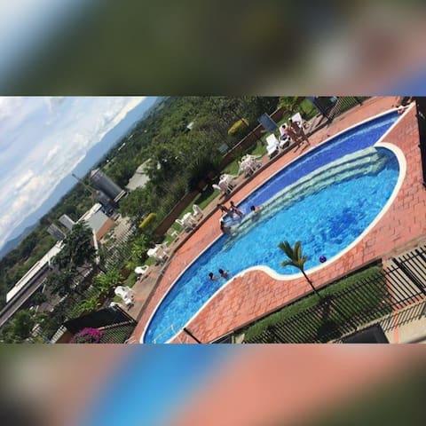 Room view to Pereira and pool