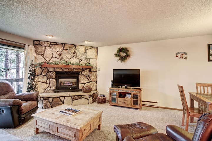 After the day's activities, relax in the cozy living room and warm by the gas fireplace