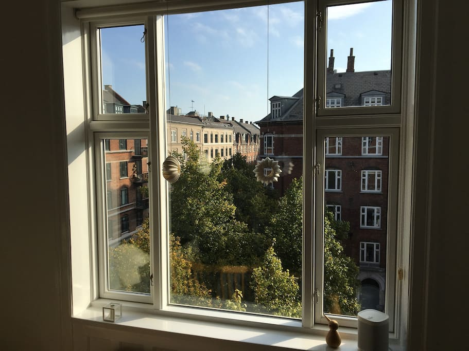 View from the living room. Enjoy it from one of two sofas by Danish designer Børge Mogensen :-)