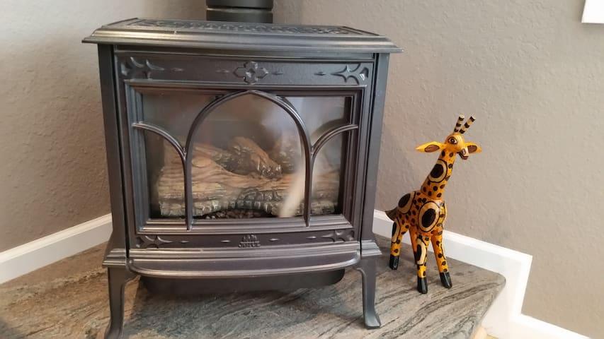 Cozy gas fire heat