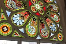 View of the stained glass windows in lobby.