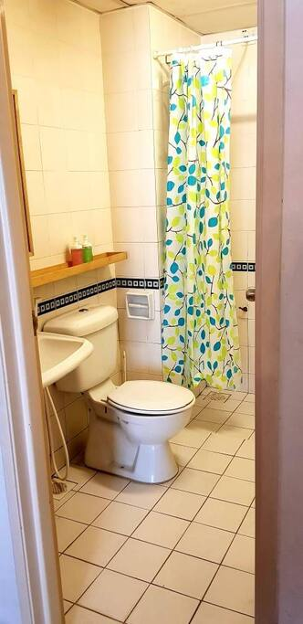 Clean bathroom with separated shower head.
