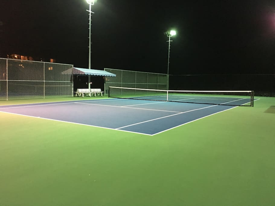 Newly resurfaced tennis courts are for day or evening use. They are some of the best in the area.