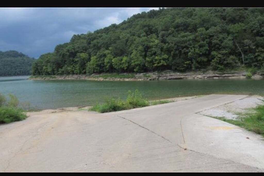 Boat ramp 1/4 mile away. Now has dock for loading access.