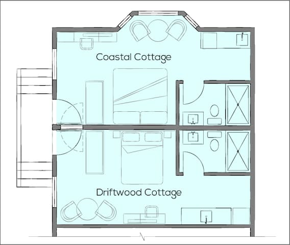 Floor plan showing the full cottage which is made up of two separate suites. Ideal for 2 couples traveling together. There is an adjoining door that locks from each side so you can choose to connect or keep them private.