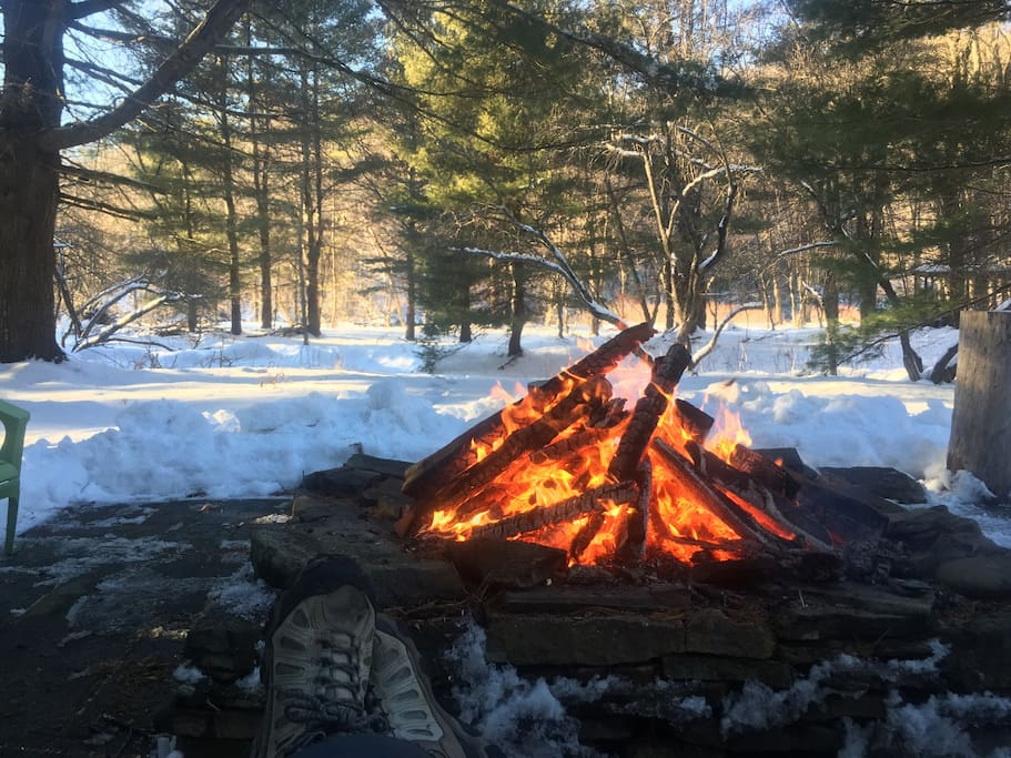 Fire after a winter hike
