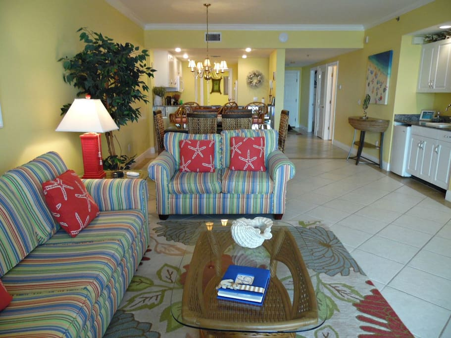 Gulf Front Living Room To Kitchen View