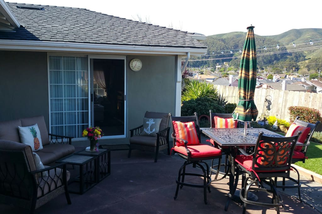 Patio for your relaxing or meals after your long travel day, or access to parlor.