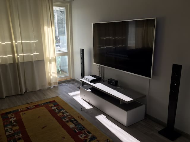"Nice apartment near train station with huge 75""TV"