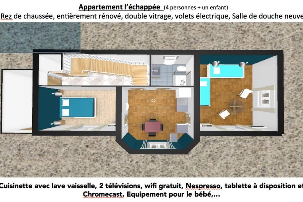 L'appartement l'échappée disposition famille