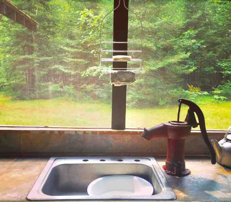 Hand pumped water available on the screened in porch—drawn straight from well.