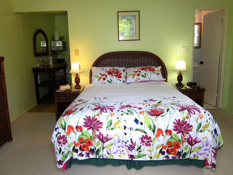 Clean comfortable apartment with queen size bed, kitchen and bathroom