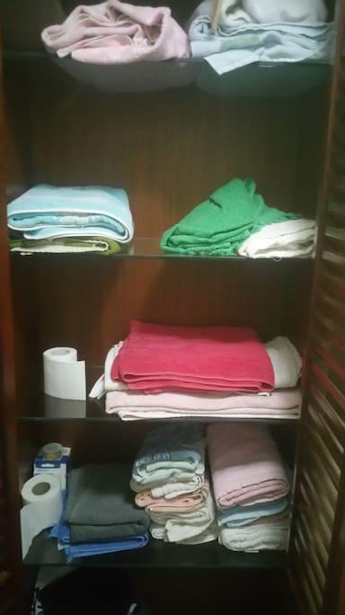 Armario empotrado en el cuarto de baño privado. Con toallas y menaje.