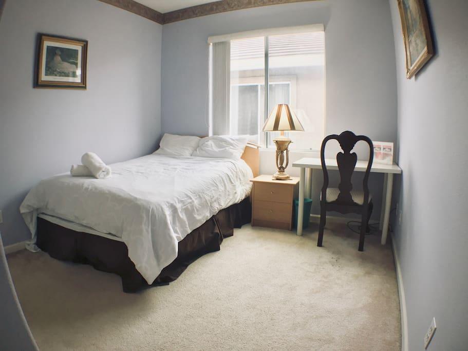 room 4 (can fit an extra twin air mattress of floor mat)