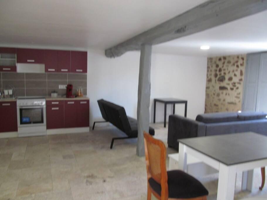 salon salle à manger cuisine de 50 M