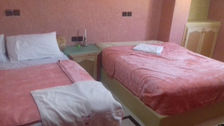 Tow double beds& bedroom and shower