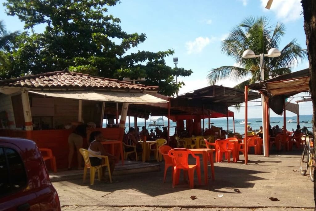 Our pousada is located in front the beach in Estaleiro Do Bonfim. There are local restaurants and bars to sit, eat, drink and enjoy a beautiful views with the locals just steps away from your room.