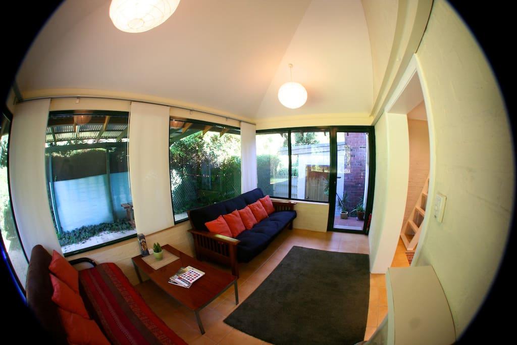 Sunroom and futon bed