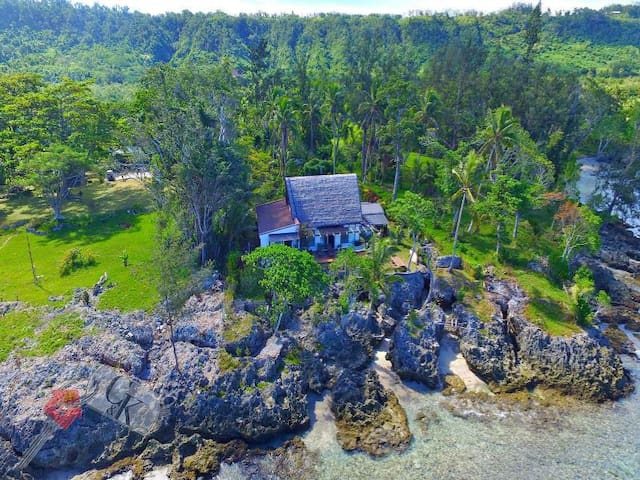 Aerial view of house and guest cottage - you can see the beach entry points (safe and easy)