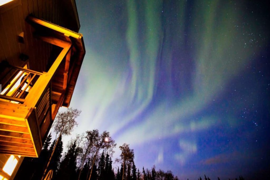 Northern lights above the house.