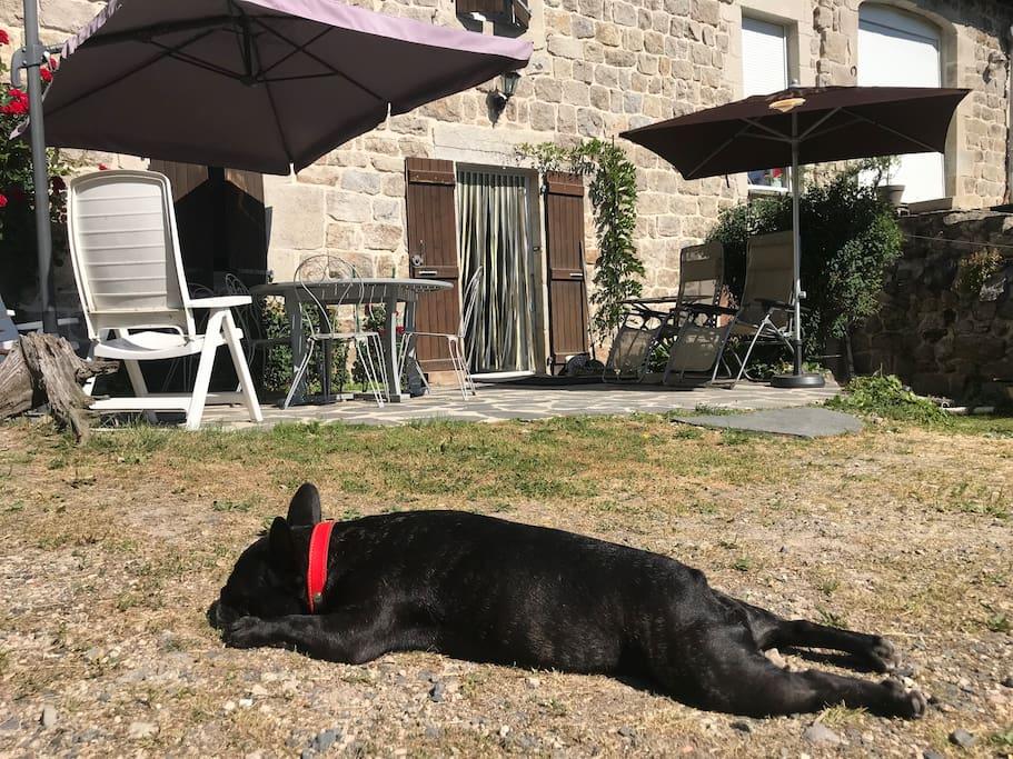 L ' avant de la maison avec sa terrasse en lauzes où vous pouvez dejeuner et farnienter