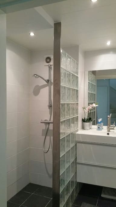 The modern bathroom has a walk in shower.