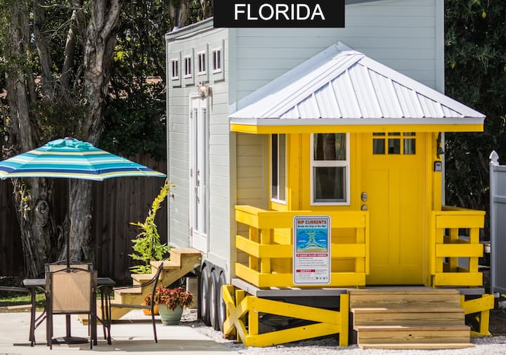 Tiny House modeled after the yellow lifeguard stand on famous Siesta Key Beach