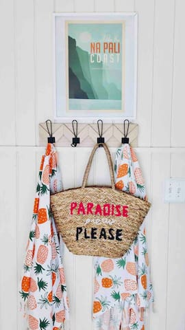 Paradise please! Grab one of our Turkish towels and beach bag and feel free to use them for the day.