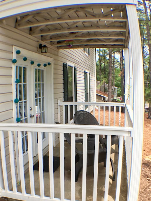 Our private porch is GREAT for morning coffee:)