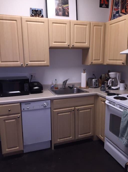 Kitchen with Microwave, stove, oven and dishwasher