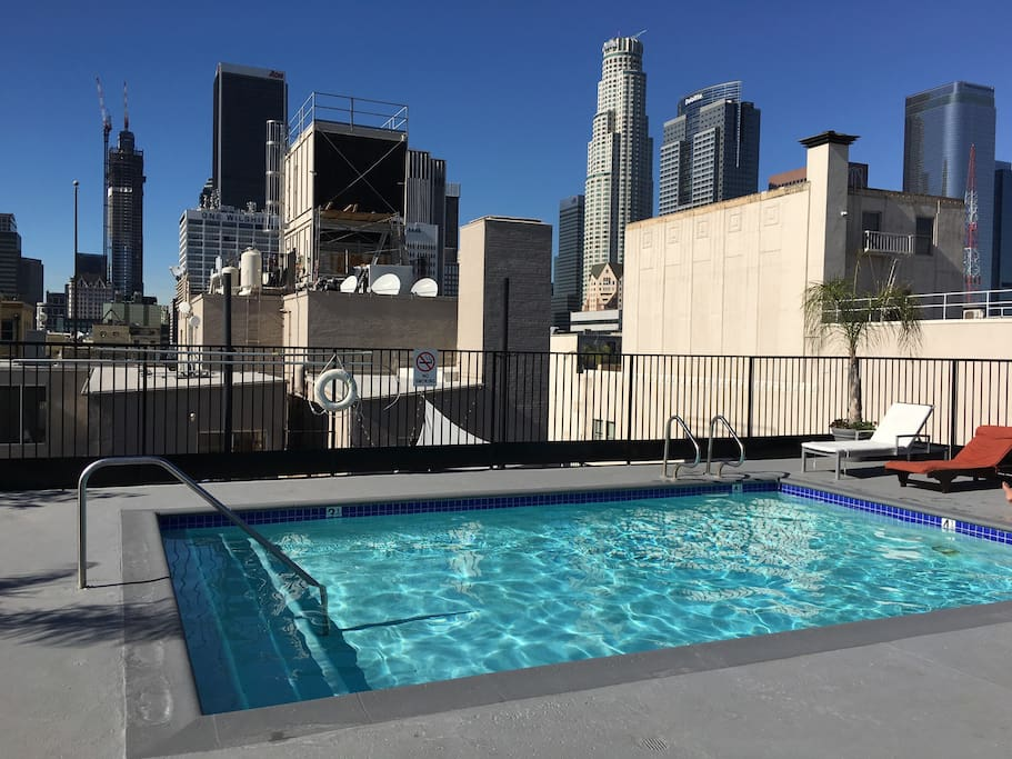 Pool with a view of downtown Los Angeles.