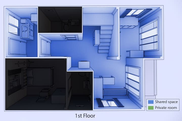 1st floor: Shared space