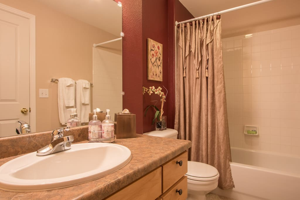 Immaculate bathroom with fresh towels, shampoo, conditioner, lotion, hair dryer and curling iron.