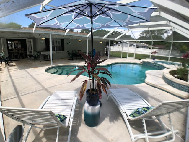 BEACHY SOUTH TAMPA POOL RANCH COVERED LANAI RELAX!