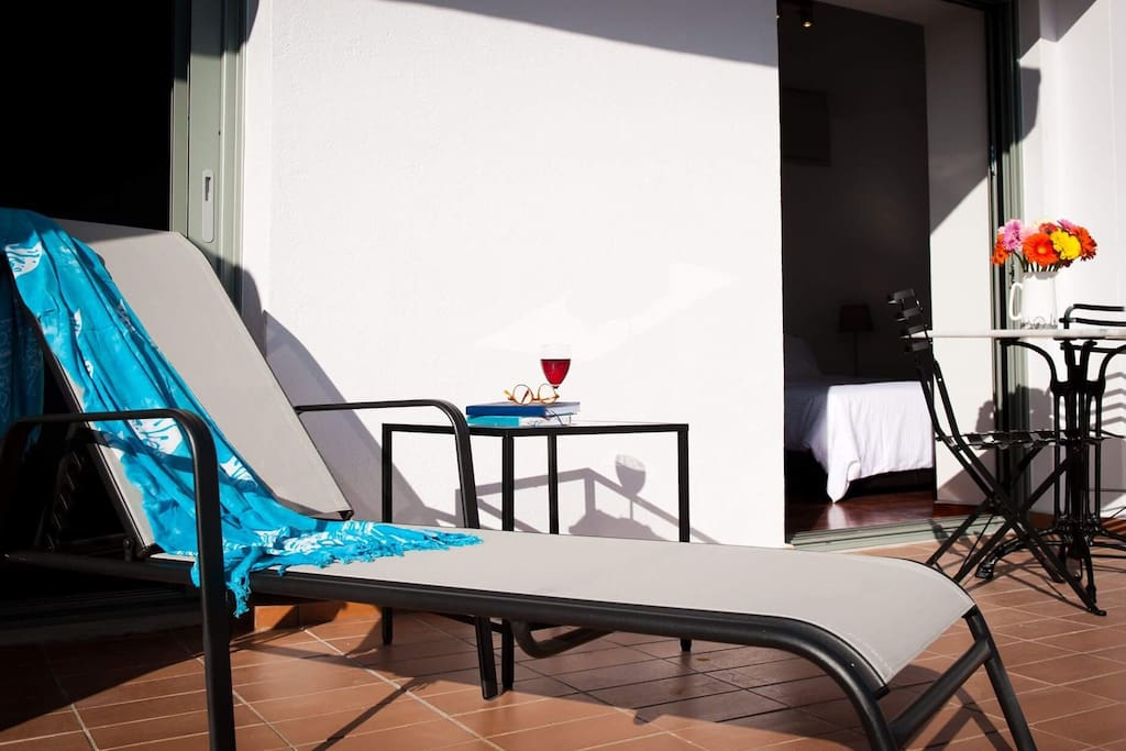 loungers on balcony