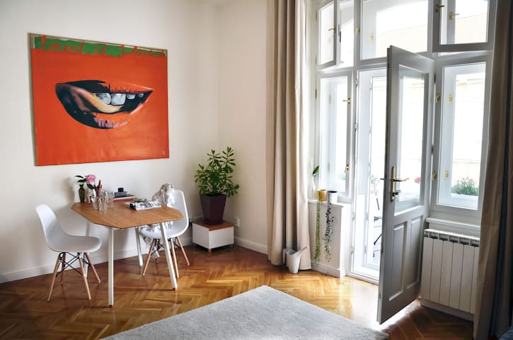 Bright Apt with balcony near center & great parks - Prag - Daire