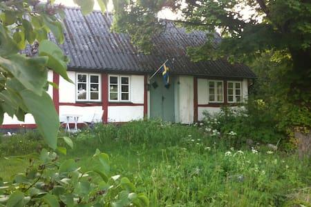 Charmigt korsvirkeshus med utsikt mot Österlen - Sjöbo NO