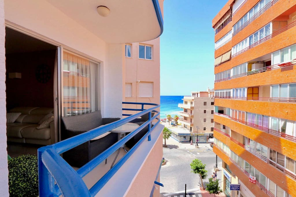 """View from the balcony of the 3-bedroom apartment in Calpe just 50 meters from the central sandy beach - """"Arenal"""""""