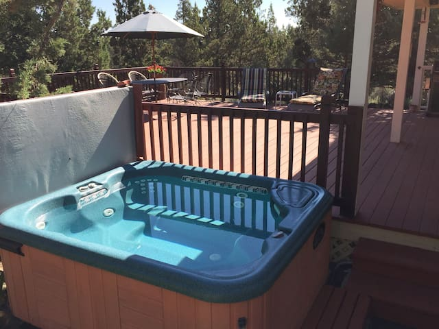Relax in the hot tub after a day of winter fun.
