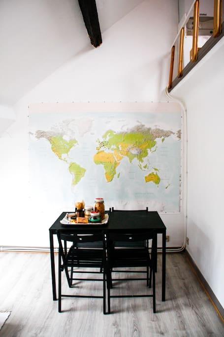 second room: kitchen + living room