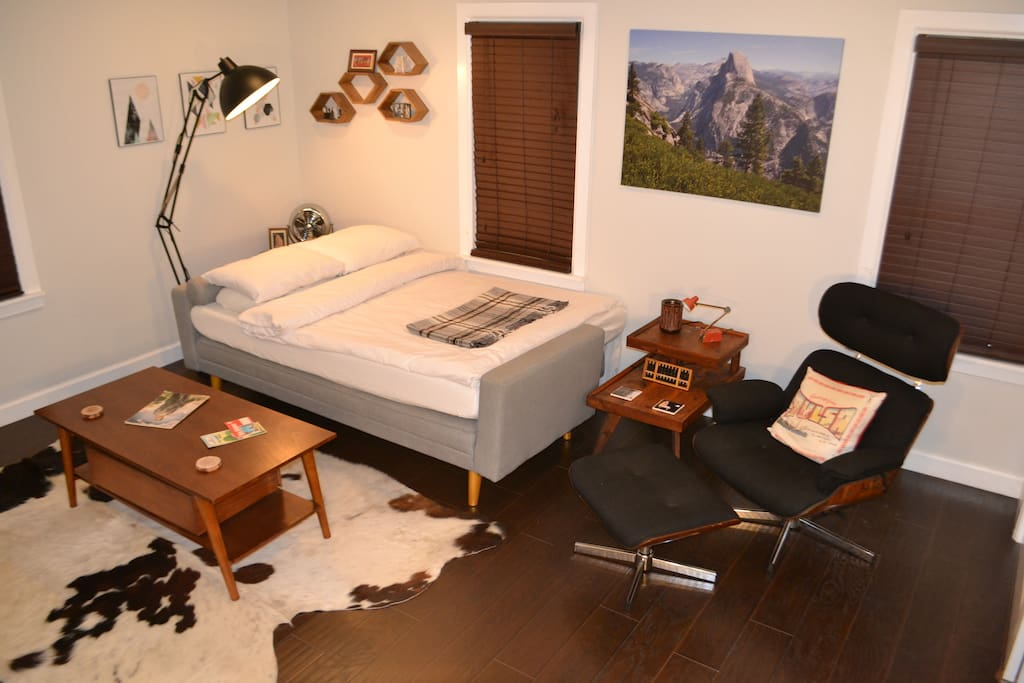 """Sofa bed is full sized and has comfy 6""""-thick memory foam mattress on top so it is like a regular full-sized bed. We can have mattress setup as shown before you arrive if you wish."""
