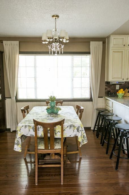Breakfast bar and dining room table to enjoy your meals at.
