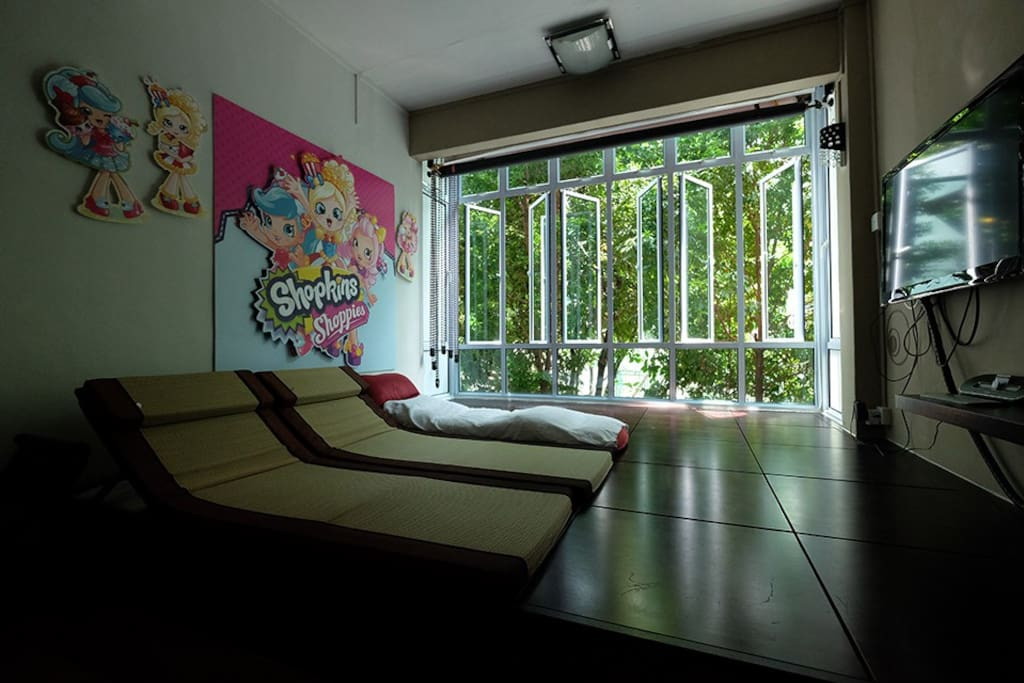 Living room converted into tatami sleeping space