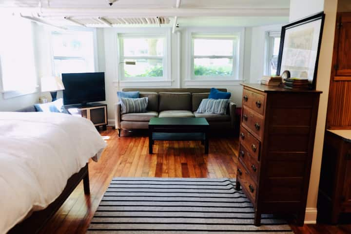 Spacious, light-drenched studio-private entrance!
